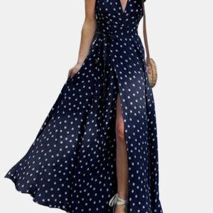Polka Dots V-neck Short Sleeve Print Split Party Wrap Maxi Dress