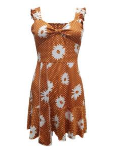 Casual Ruffle Twist Daisy V-neck Sleeveless Mini Dress