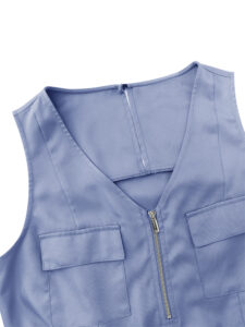 Women Casual V-neck Sleeveless Front Zipper Elastic Waist Outwork Jumpsuit