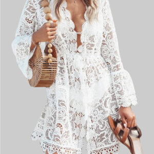 Lace V-neck Ruffle Summer Beach Bikini Hollow Out Causal Dress