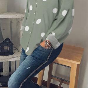 Women Casual Polka Dot Print Button Down Blouse