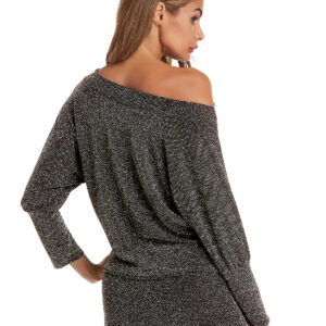 Women Off Shoulder Batwing Sleeve Hip Skirt Dress