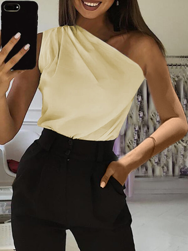 Sleeveless Strapless One Shoulder Casual Solid Women Tank Tops