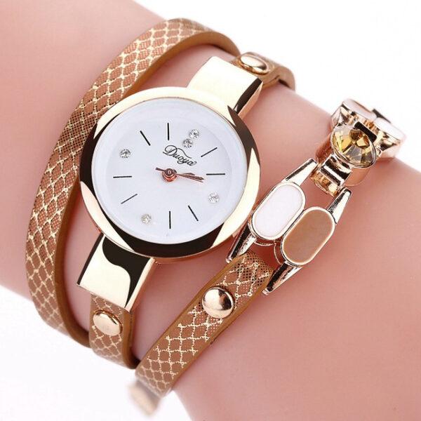 DUOYA DY106 Fashionable Women Bracelet Watch Vintage Leather Strap Quartz Watch