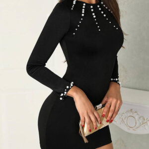 Elegant Pearl Details Round Neck Long Sleeves Mini Dress