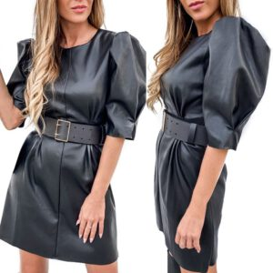Autumn Leather Dress Women's Casual Sexy Puff Sleeve Round Neck Leather Dress High Waist Round Collar Short Sleeve Mini Dress#45
