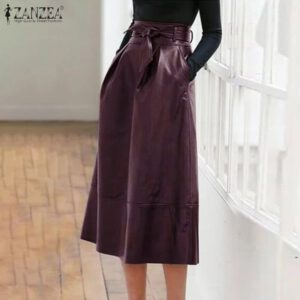 ZANZEA Elegant High Waist Solid Midi Skirt Summer Stylish Women PU Leather Skirts Zipper Bow Tie Skirts Femme OL Work Jupe