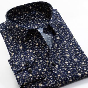 Large Size 8XL 9XL 10XL VROKINO Brand 2020 Vintage Floral Print Long Sleeves Men's Business Casual Dress Fashion Classic Shirt