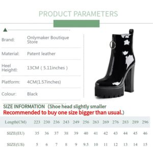 Onlymaker Women's Comfy Elastic Platform Boots Round Toe Chunky High Heel Pull on Ankle Booties Patent leather boots