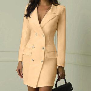 9 Color Sexy Black Formal Dress Office Lady Women Double Breasted Blazer Plus Size Slim Bodycon Work Wear Dress Droppship платье