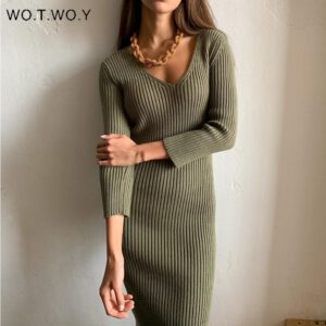 WOTWOY V-Neck Wrapped Knitted Dress Women Autumn Solid Sheath Sweater Dresses Women Knee-Length Bodycon Long Sweater Female New