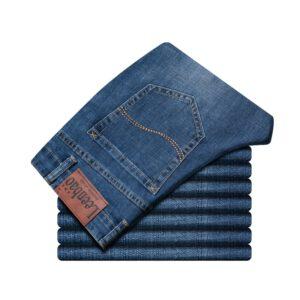 Spring Autumn 2020 Men's Smart Jeans Business Fashion Straight Regular Blue Stretch Denim Trousers Classic Men Plus Size 28-40