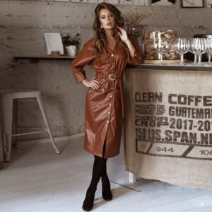 Women Vintage Pu Leather Straight Party Dress Ladies Button Belt V-neck Spring Sexy Dress 2020 New Fashion Midi Dress Vestidos