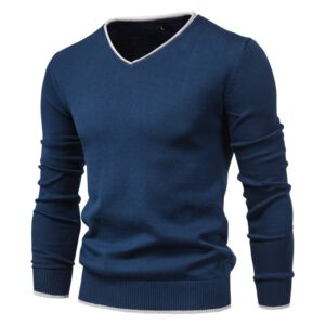 2020 New 100% Cotton Pullover V-neck Men's Sweater Solid Color Long Sleeve Autumn Slim Sweaters Men Casual Pull Men Clothing