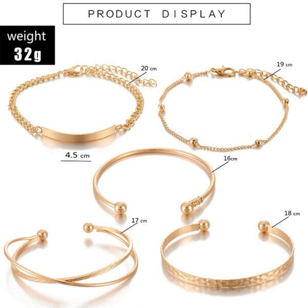 Tocona Bohemian Gold Tassel Bracelets for Women Summer Shell Clear Crystal Stone Pineapple Geometric Heart Bangle Jewelry