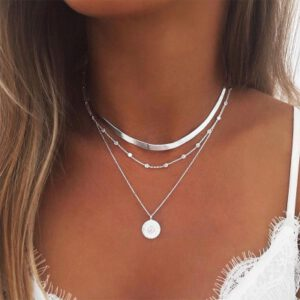 3 Layed Choker Necklaces Collar Women Chokers Gold/Silver Color Metal Chain Necklace for Female Collier