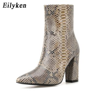 Eilyken New Design Snake Print High Heels Ankle Women Boots Pointed Toe Zipper Fashion Booties Party Sexy Female Shoes Woman