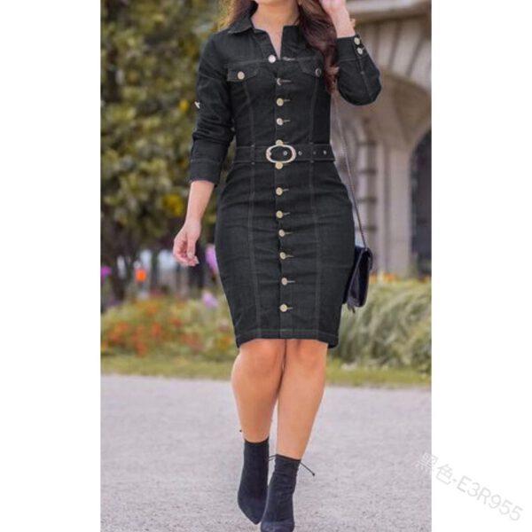 WEPBEL Denim Dress Women Long Sleeved Casual Lapel Collar Elegant Solid Color High Waist Knee-Length Dress Single Breasted Jeans