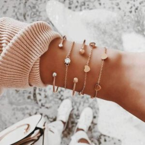 Tocona Bohemian Gold Tassel Bracelets for Women Summer Shell Clear Crystal Stone Pineapple Geometric Heart Bangle Jewelry