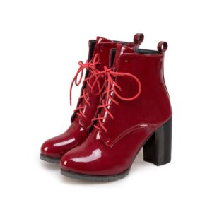 Fashion Ankle Boots For Women High Heels Short Boots Women Fashion Patent Leather Lace-up Red Black Shoes Lady Large size 45 46