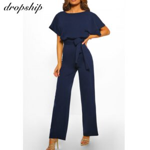 Dropship Jumpsuit Rompers Womens Overalls Women Jumpsuits 2020 Streetwear Plus Size Romper Spring Summer Lace-up Short Sleeve