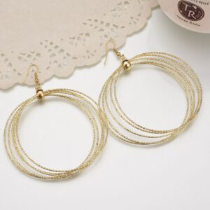New exaggerated metal big circle atmospheric disc multi-level fashion retro round boho style hollow ladies earrings