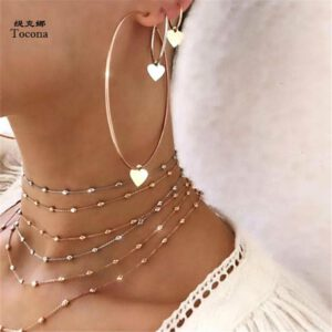 Tocona 3pcs/set Bohemia Love Heart Pendant Drop Earrings Punk Gold Alloy Dangle Earring Piercing Brincos for Women Jewelry 6816