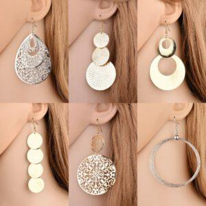 New exaggerated metal big circle atmospheric disc multi-level fashion retro round boho style hollow ladies earrings