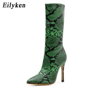 Eilyken 2020 New Fashion Zipper Women Boots Snake Print Ankle Boots High heels Sexy Pointed toe Ladies Sexy shoes Chelsea Boots
