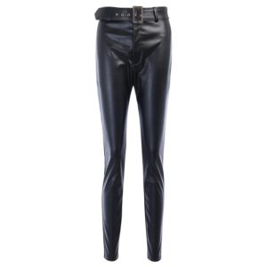 InstaHot InstaHot Black Belt High Wiast Pencil Pants Women Faux Leather PU Sashes Trousers Casual Sexy Exclusive Design Capris