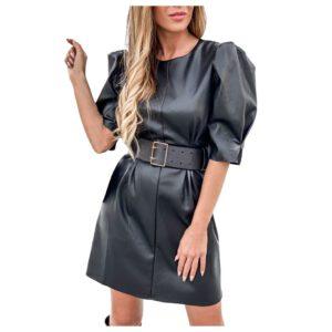 Autumn Leather Dress Women's Casual Sexy Puff Sleeve Round Neck Leather Dress High Waist Round Collar Short Sleeve Mini Dress#45