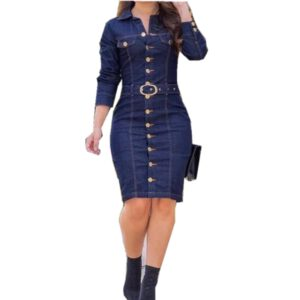 WEPBEL Denim Dress Women Long Sleeved Casual Lapel Collar Elegant Solid Color High Waist Knee-Length Dress Single Breasted Jeans