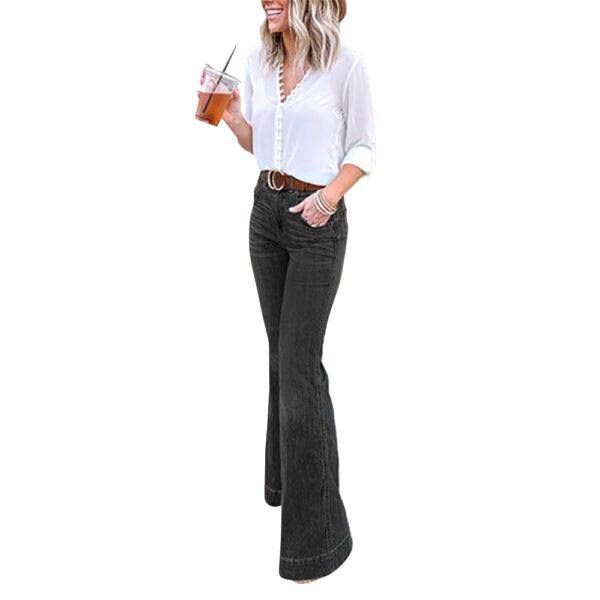 Sale Ladies Flared Denim Pants Jeans Fashion Blue Black Jeans For Women Fashion Ol Work Wear Female Wide Leg Pants D30