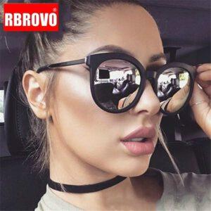 RBROVO 2019 Vintage Round Sunglasses Women Brand Designer Shopping Glasses Large Frame Street Beat Oculos De Sol Gafas UV400