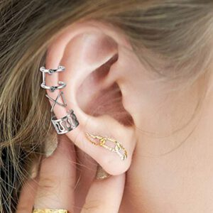 12Pc Stainless Steel Double Triple Hoop Ear Cuff Clip On Earring Tragus Cartilage Non Piercing Closure Rings Fake No Piercing