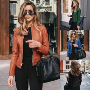 2020 PU Leather Coat Female Bike Jacket Women Yellow Leather Jacket Women Leather Zipper Outfit Spring Autumn Women Blazer