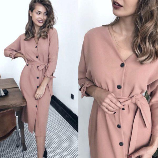 Sexy v Neck Autumn Long Sleeve Women Dress Ladies Sashes Button Casual Office Dress 2019 New Fashion Women Midi Dress Vintage