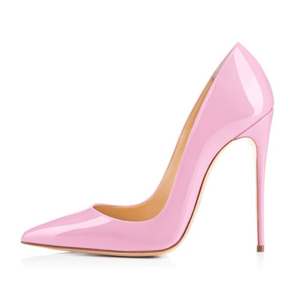 Onlymaker Women's Shoes 8 10 12CM Pointed Toe Fashion Thin Heels Pumps Red Pink Patent Leather Shoes Woman Big Size US5~US15
