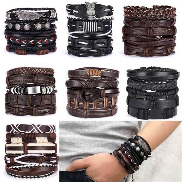 Punk Design Leaf Feather Multilayer Leather Bracelet Men's Metal Braided Handmade Rope Wrap Bracelets & Bangles Male Gift