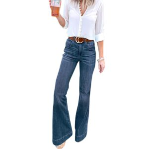 Sale Ladies Flared Denim Pants Jeans Fashion Blue Black Jeans For Women Fashion Ol Work Wear Female Wide Leg Pants D30