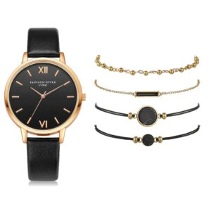 Watch Set Women 5pcs Woman Quartz Wristwatch Leather Ladies Bracelet Luxury Watch Casual Relogio Femenino Gift For Girlfriend