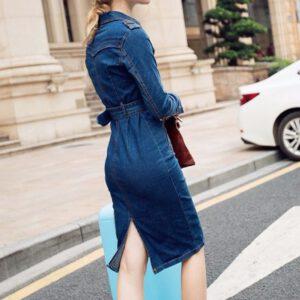 Women Winter Office Slim Jeans Mid-Cuff Dress With Belt for Women Jeans Dress Denim Dress Wholesale Free Ship платье Z4