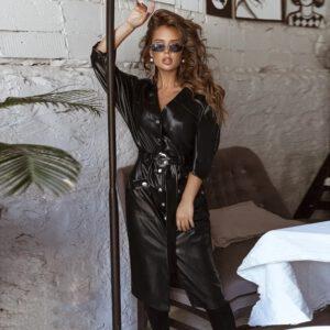 Women Vintage Pu Leather Straight Party Dress Ladies Button Belt V-neck Spring Sexy Dress 2020 New Fashion Midi Dress Vestidos