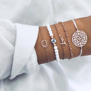 Boho Bracelet Bangle Sets for Women Map Beaded Gem Shell Turtle Leaf Handmade Multilayer Bracelet 2020 Jewelry Gift Bijoux