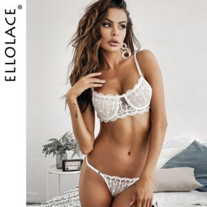 Ellolace Embroidery Lingerie Bra Set Women's Underwear Set White Bra and Party Set Underwire Female Half Cup Bra Lingerie Set