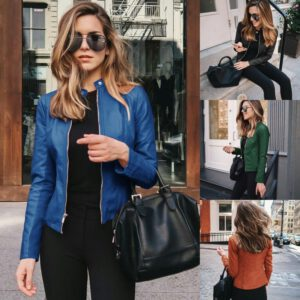 2020 PU Leather Coat Female Bike Jacket Women Yellow Leather Jacket Women Leather Zipper Outfit Spring Autumn Women Blazer