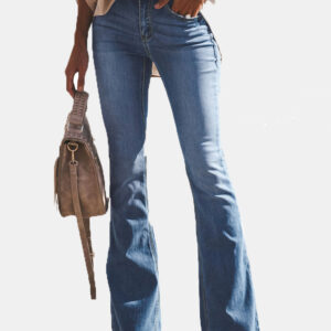 Casual Women Skinny Pocket Flare Jeans