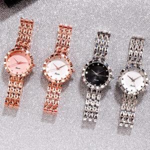 Deffrun Full Steel Case Casual Style Women Wrist Watch