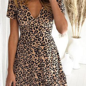 Leopard Print V-neck Short Sleeve Casual Dress