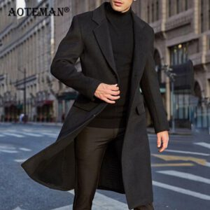 Men Wool Jacket Blends Coats Autumn Winter Long Jackets Men's Clothing Solid Windbreaker Outwears Fashion Male Overalls LM047